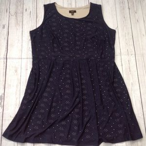 I LE New York Navy Blue Fit & Flare Dress Size 22W